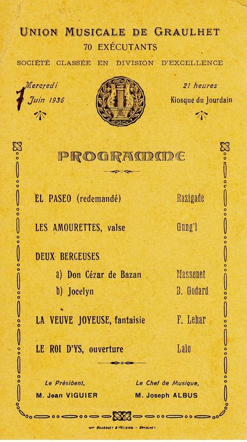 L'Union Musicale : les programmes