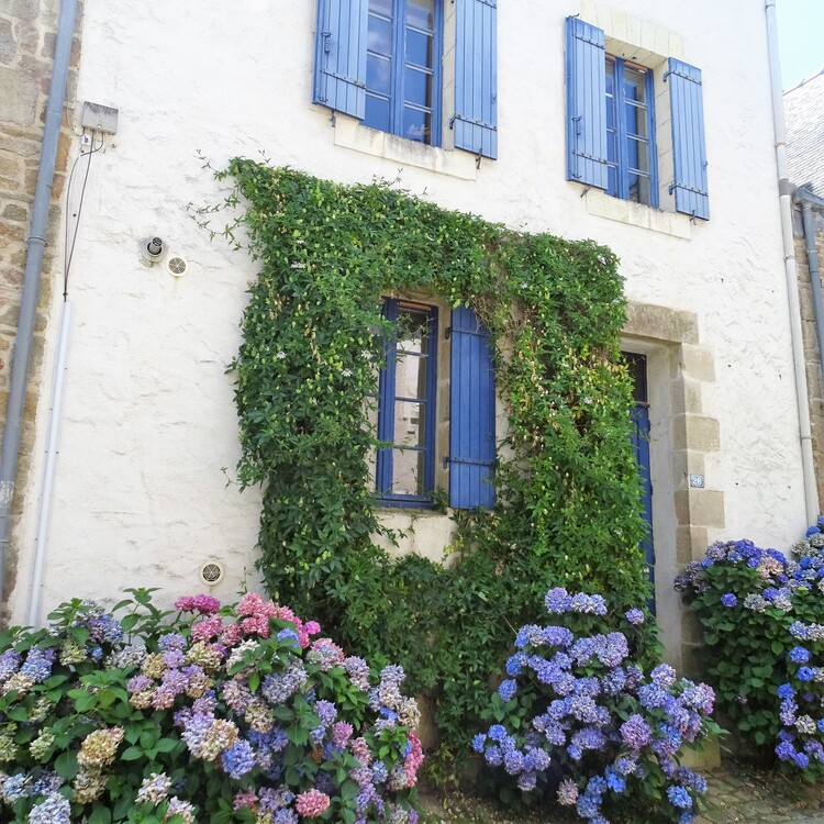Saint Goustan : Maisons en pierre et fleuries et racontage de Ondine