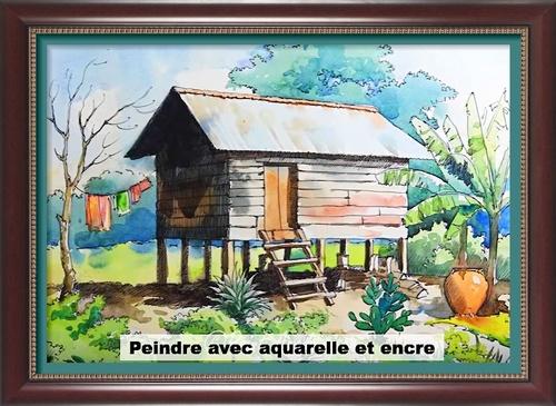 Dessin et peinture - vidéo 2759 : Comment associer l'aquarelle et l'encre pour donner des effets et du volume à une composition ? - aquarelle et encre.