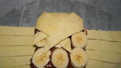 Tresse pâte feuilletée, chocolat, banane