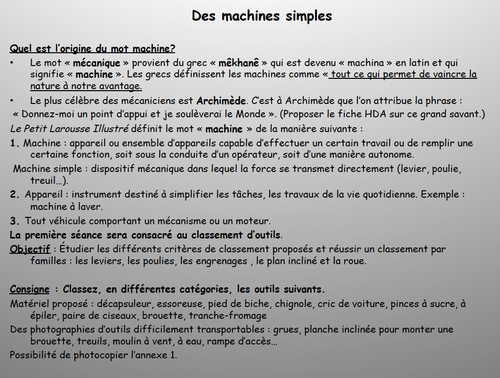 Introduction aux machines simples