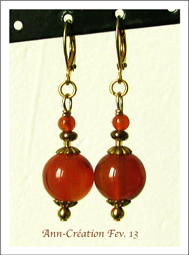 Boucles Dormeuses Cornaline - Plaqué Or & Laiton / Carnelian earrings Gold plated & Brass