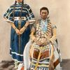 A Blackfoot couple. Montana. Early 1900s. Glass lantern slide by Walter McClintock. Yale Collection