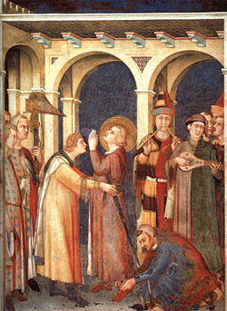 Adoubement de Saint Martin - Simone Martini - Assise, 1317