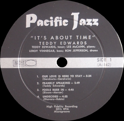 """Teddy Edwards With Les McCann Ltd. : Album """" It's About Time """" Pacific Jazz Records Stereo-6 [ US ]"""