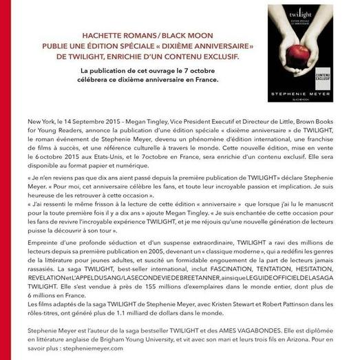 Réédition 10éme anniversaire de la saga Twilight de S. Meyer (sortie française le 7 octobre)