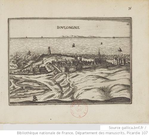 Boulogne, vue depuis les terres - Cartes, plans et vues de la Picardie et pays voisins, 1733 (gallica)