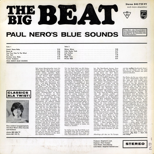 "Paul Nero's Blue Sounds : Album "" The Big Beat "" Philips Records 843 729 PY [ GE ]"
