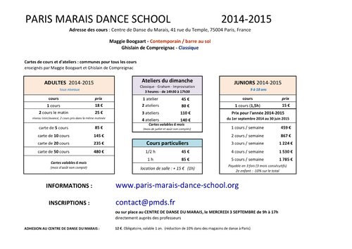 TARIFS DES COURS / PRICE FOR OPEN CLASSES
