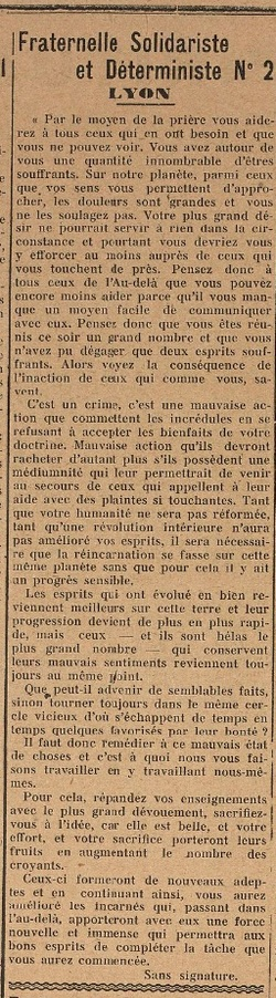 Fraternelle Solidariste et Déterministe N°2 - Lyon (Le Biéniste 1er avril 1922)