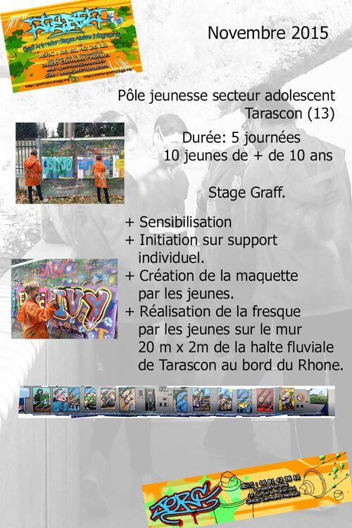 art et pedagogique : initiation au graff,et realisation fresque 20mx2m par 10 jeunes du secteur a dolescent de Tarascon (13) 5 demi-journées novembre 2015 les photos : http://atelier-graff.bloog.org