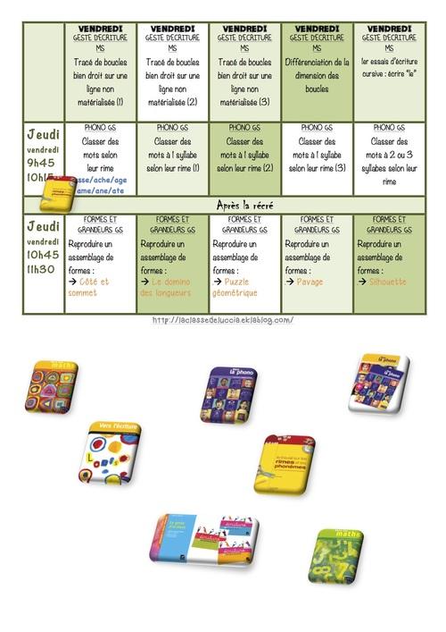 Planning des activités dirigées MS/GS Période 3