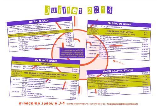 Planning juillet 2014