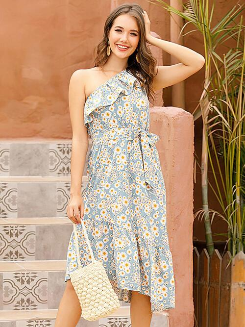 shestar wholesale one-shoulder daisy print ruffle trim dress