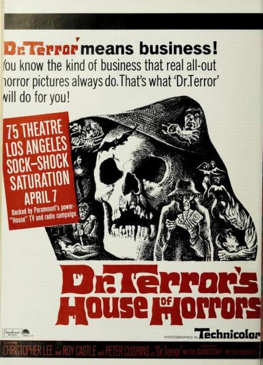 DR.TERROR'S HOUSE OF HORRORS BOX OFFICE USA 1965