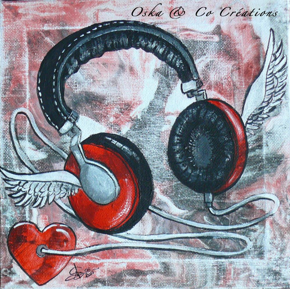 Dessin Casque Audio casque audio ailé peint sur châssis - oska & co créations