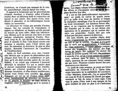 MANNING 192/70 mouvements des objets poltergeist