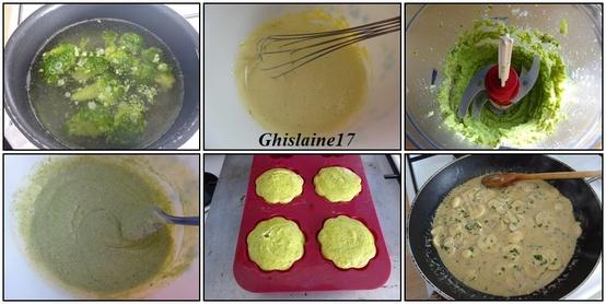 Tournedos et flan de brocolis au bleu, sauce au poivre et champignons