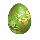 Large Green Easter Egg With Gold Ornaments