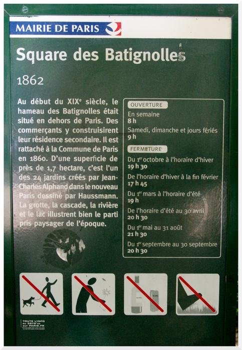Square des Batignolles. Paris