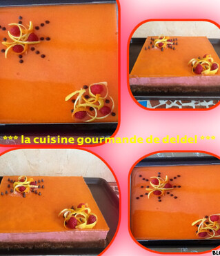 BAVAROIS ORANGE,FRAMBOISE,MOUSSE CHOCOLAT,CRAQUANT SPÉCULOOS
