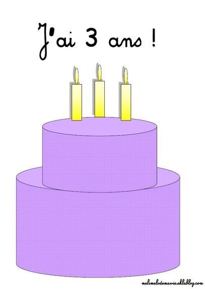 Affichage, anniversaire, gâteau, maternelle