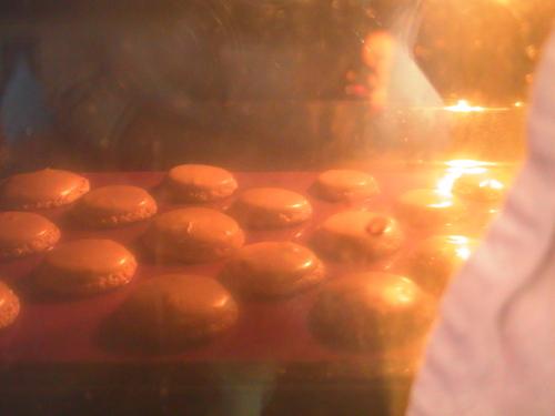 Macarons chocolat et chocolat-pistache