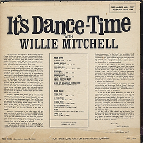 "1965 : Willie Mitchell : Album "" It's Dance Time "" Hi Records SHL 32026 [ US ]"