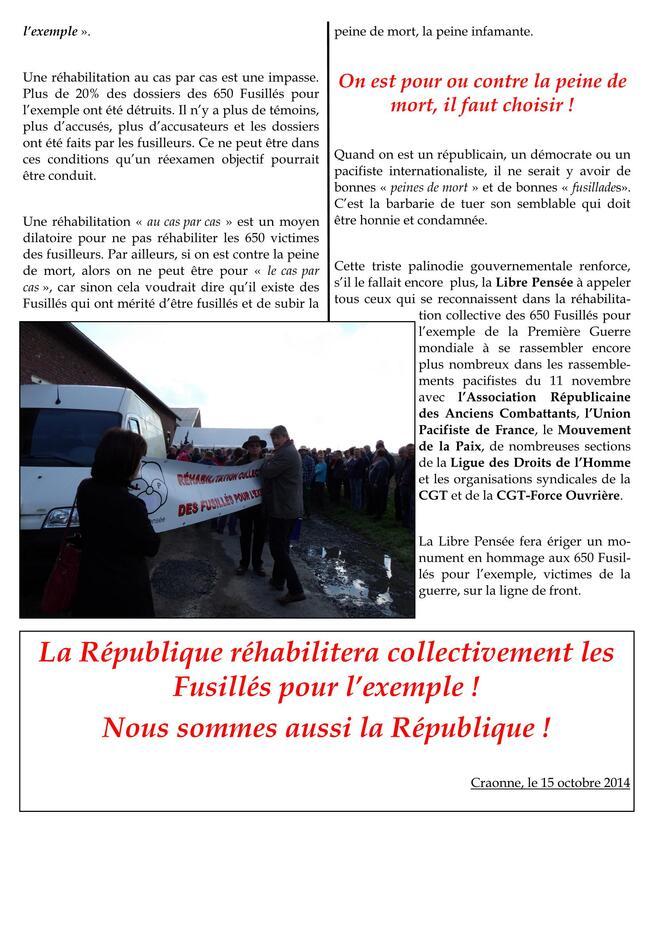 11 NOVEMBRE 2014: Journée pacifiste à Château-Arnoux             Nous sommes aussi la République!  La République réhabilitera les Fusillés pour l'exemple !
