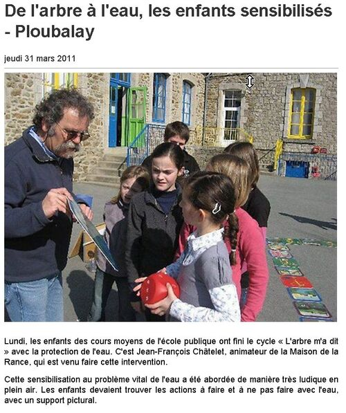 31/03/2011 - De l'arbre à l'eau, les enfants sensibilisés