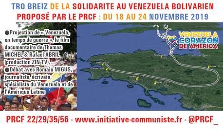 Tro Breiz de la Solidarité au Venezuela Bolivarien -Du lundi 18 au dimanche 24 novembre 2019