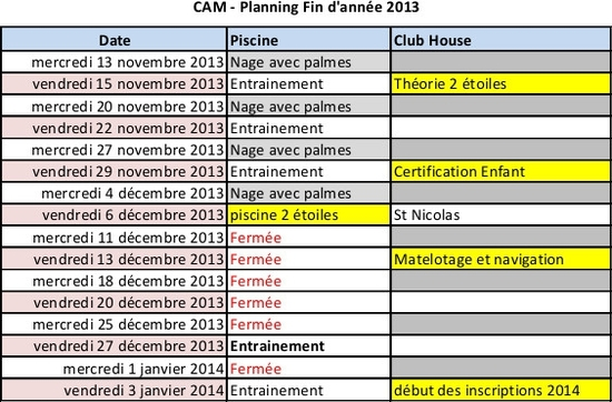 planning fin année 2013