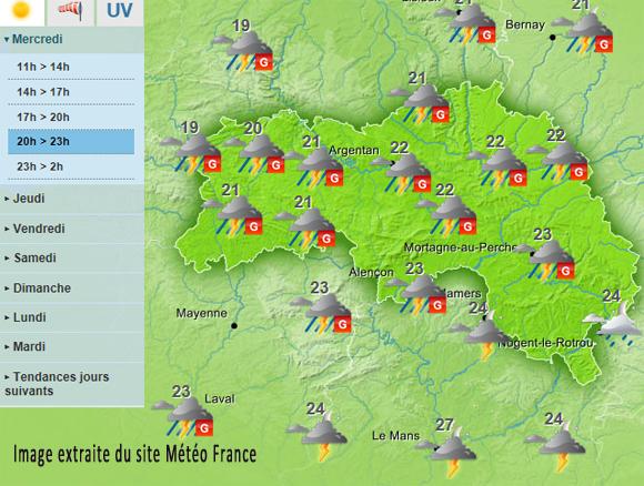 Orages : vigilance orange sur le département de l'Orne
