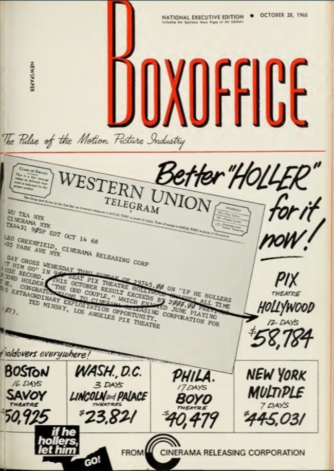 IF HE HOLLERS LET HIM GO BOX OFFICE USA 1968