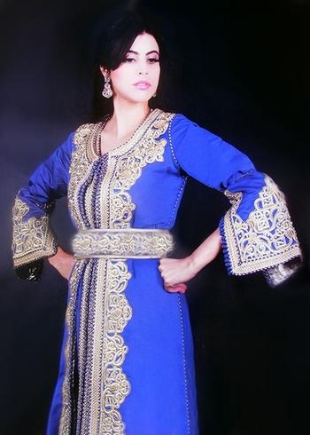 Takchita-marocain-2015-bleu de haute couture pas cher commandable en ligne et sur mesure -TAK-S883