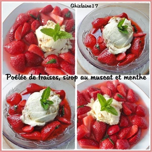 Poêlée de fraises, sirop au muscat et menthe