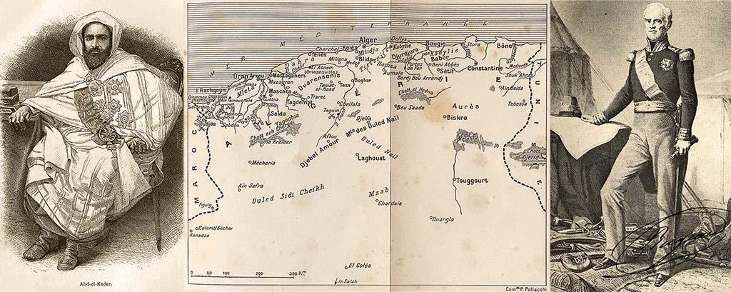Abd-el Kader, carte de l'Algérie avant Bugeaud et Bugeaud