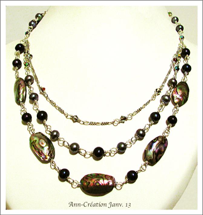 Collier 3 rangs Abalone, Perles de Culture, Cristal de Swarovski / Argent 925