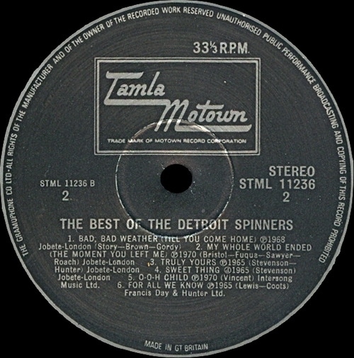 "The Spinners : Album "" The Best Of The Detroit Spinners "" Tamla Motown Records STML 11236 [ US ]"