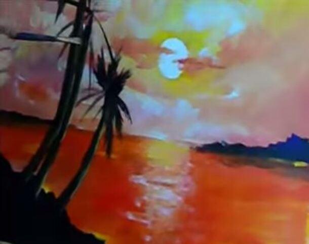 Dessin et peinture - vidéo 1517 : Une leçon de peinture acrylique - Coucher de soleil avec palmiers.