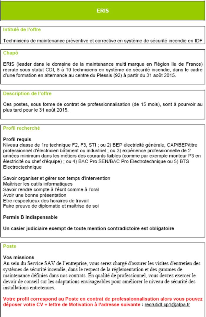 FORMATION AFPA : Techniciens de maintenance pr�ventive et ...