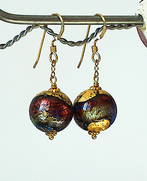 Boucles Verre de Murano authentique Dichroïc brun or / Plaqué Or 14 kt Gold Filled