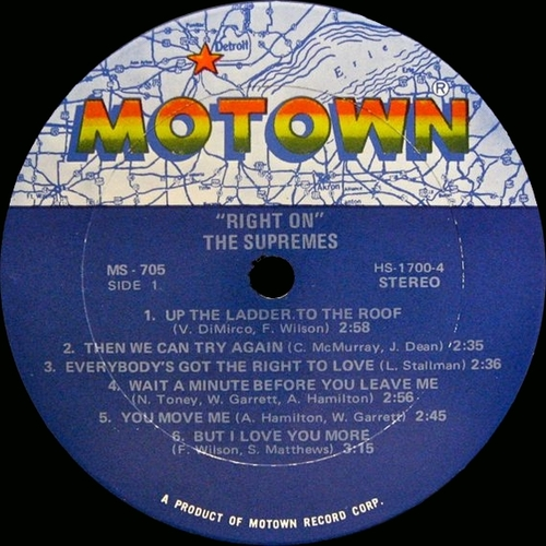 """The Supremes : Album """" Right On """" Motown Records MS 705 [ US ]"""