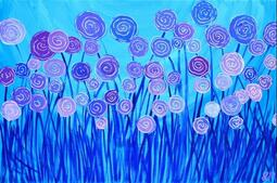 Abstract Flowers - Blue & Purple - by Louise Mead from Flowers
