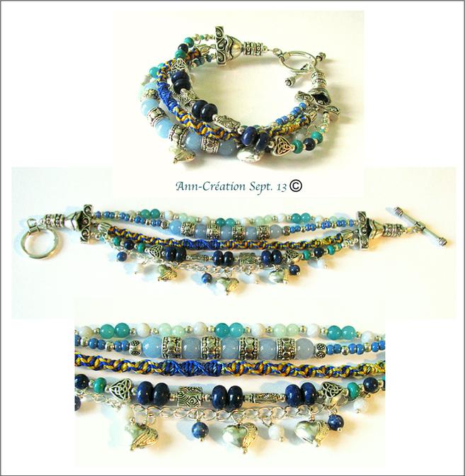 Gipsy Bleu - Bracelet Multi rangs Calcédoine, Amazonite, Lapis Lazuli, Turquoise, Agate / Plaqué argent
