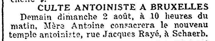 Inauguration d'un temple antoiniste à Schaerbeek (Le Soir, 2 août 1925)(Belgicapress)