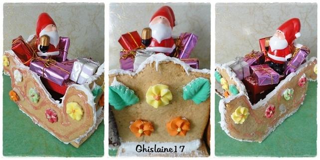 Le traîneau du Père Noël en pain d'épices