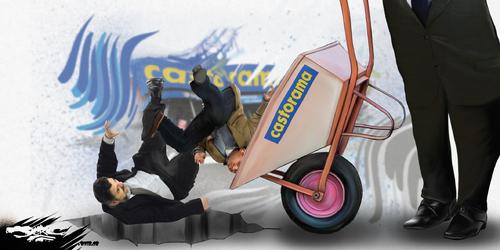 dessin de JERC du lundi 19 février 2018 caricature Licenciement Castorama  Enormément d'emplois créés sous l'ère Macron ! www.facebook.com/jercdessin @dessingraffjerc