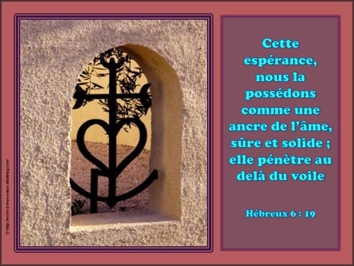 Cette espérance, nous la possédons comme une ancre de l'âme - Hébreux 6 : 19