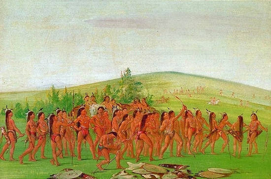 George Catlin's   Archery of The Mandan.